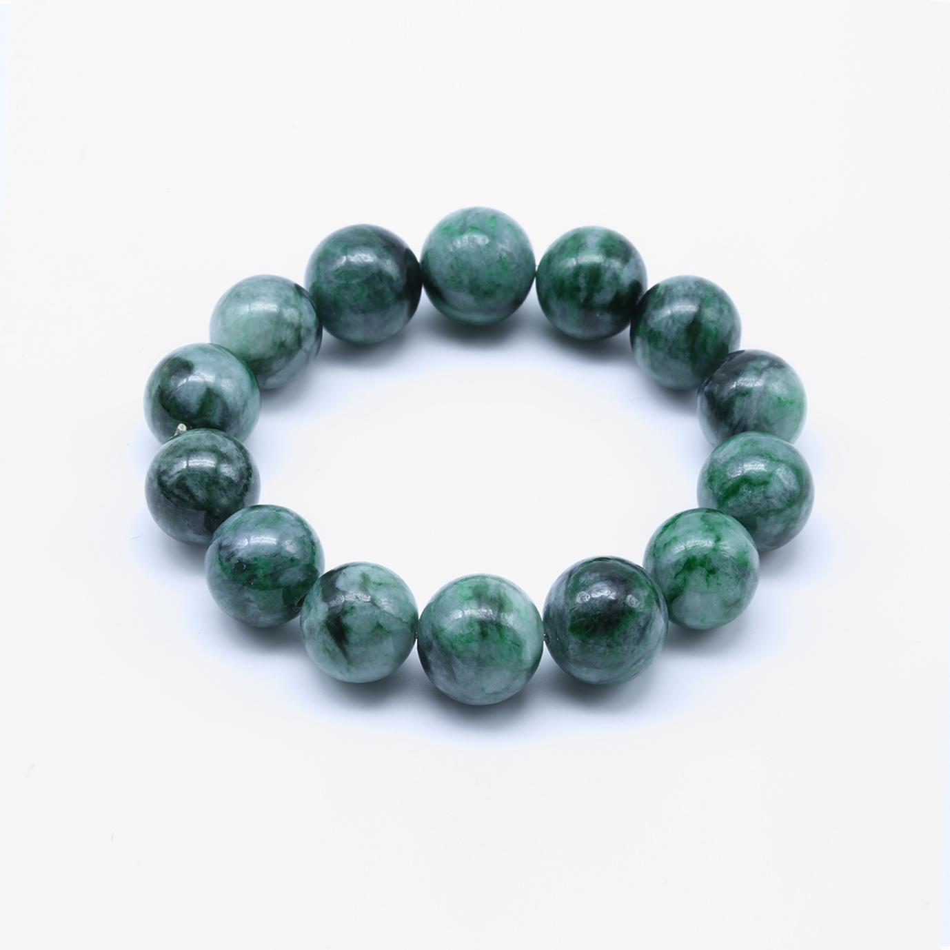 Splashes of Green Jadeite Jade Bead Bracelet