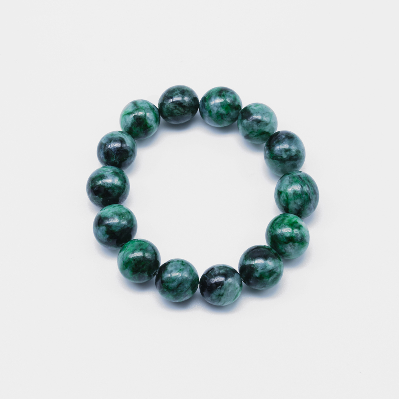 Splashes of Green Jadeite Jade Bead Bracelet