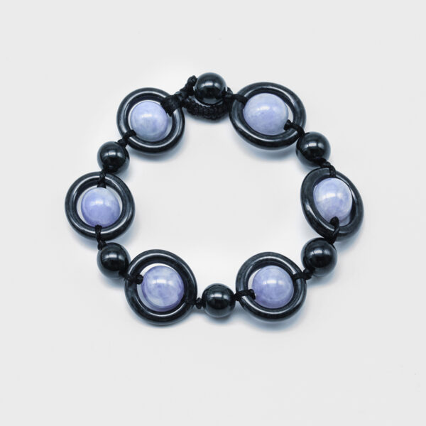 Black and Purple Fancy Jadeite Jade Bracelet