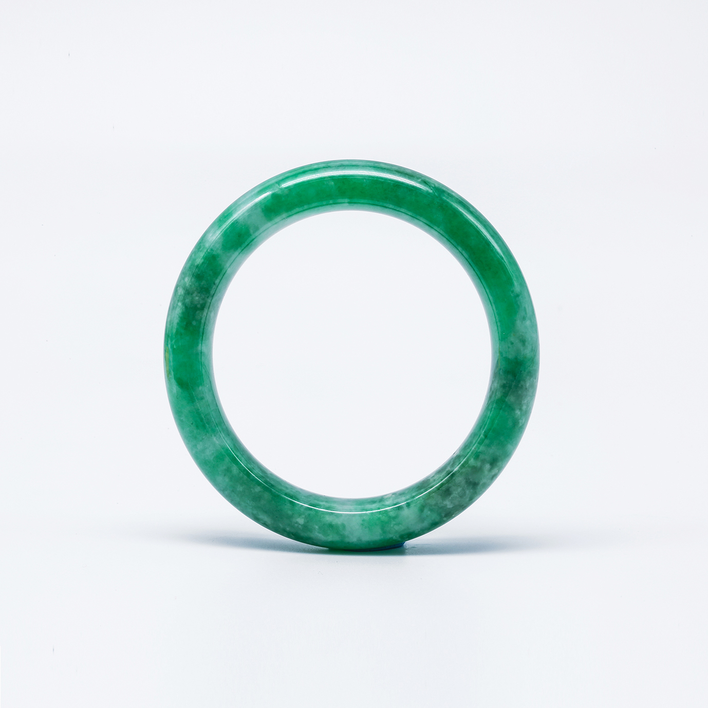 Translucent Green All Around Jadeite Jade Bangle