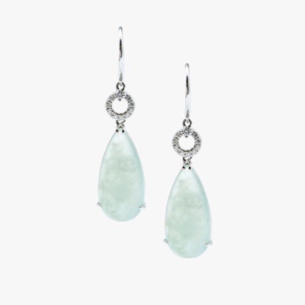 Icy Tear Drop Jadeite Jade Earrings