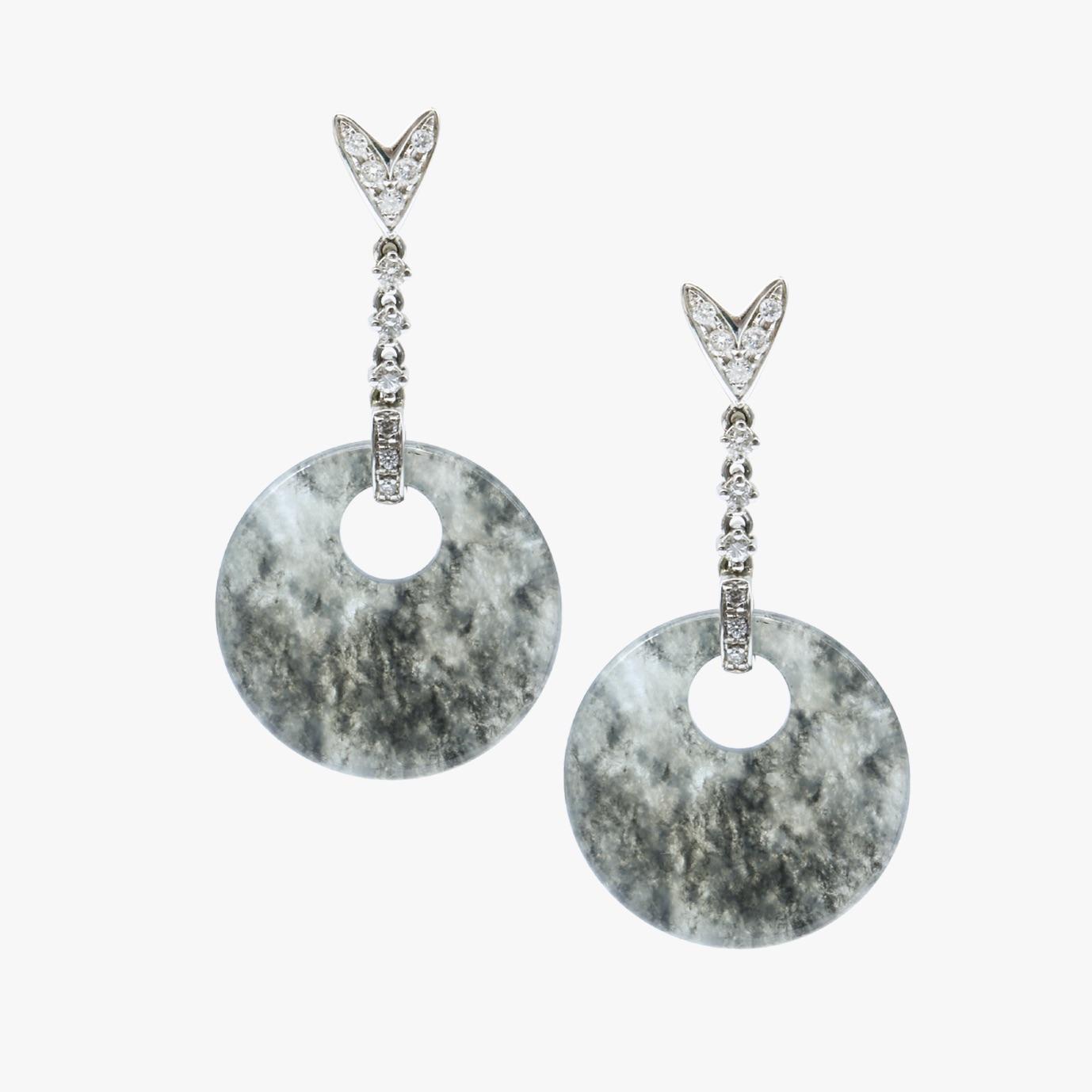 Translucent Black Round Shape Jadeite Jade Earrings