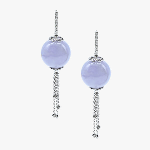 Purple Beads Jadeite Jade Earrings