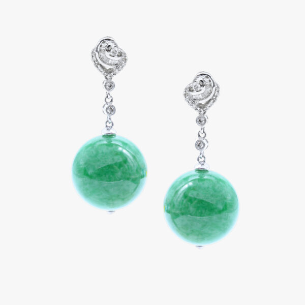 Translucent Green Beads Jadeite Jade Earrings