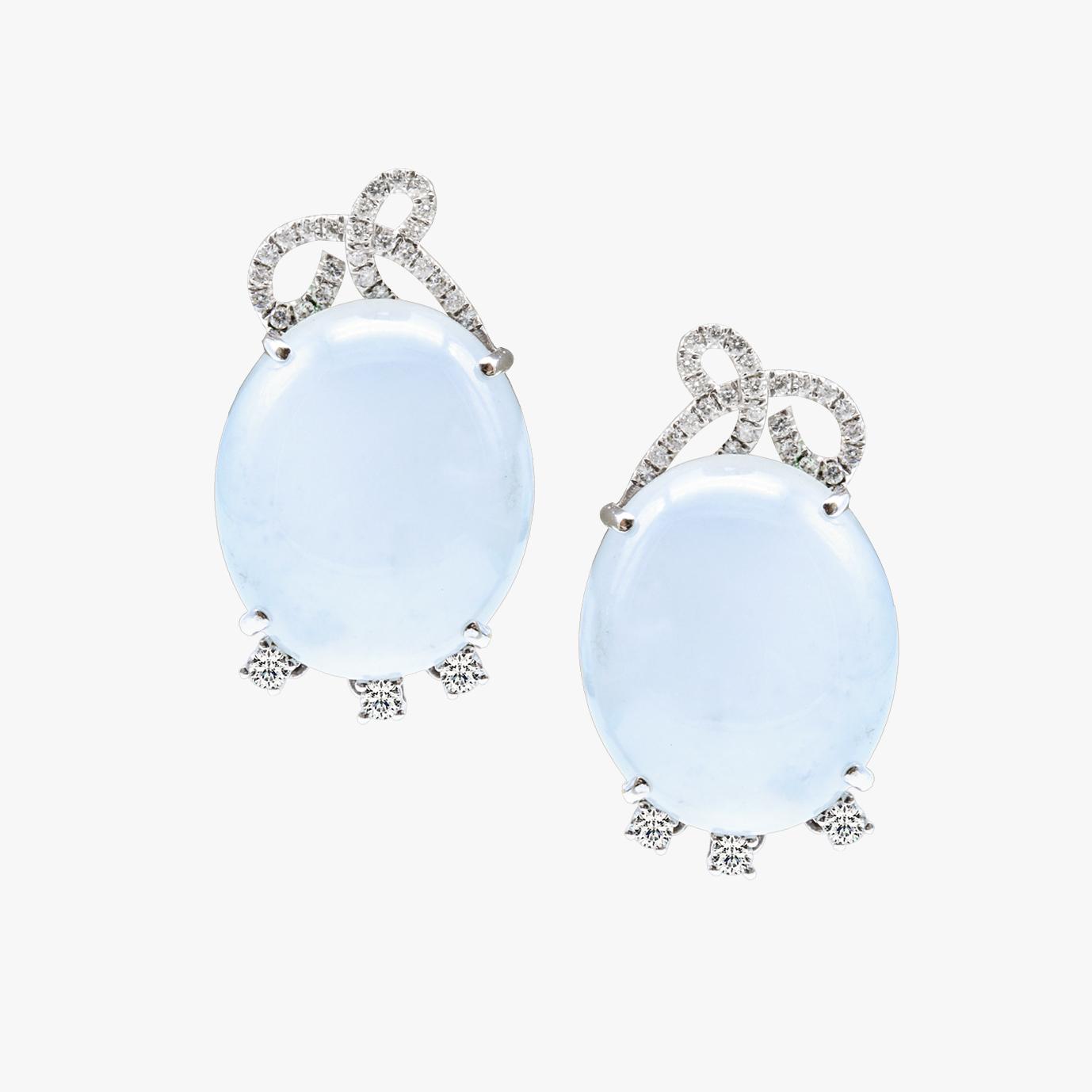 Clear Cabachon Jadeite Jade Earrings
