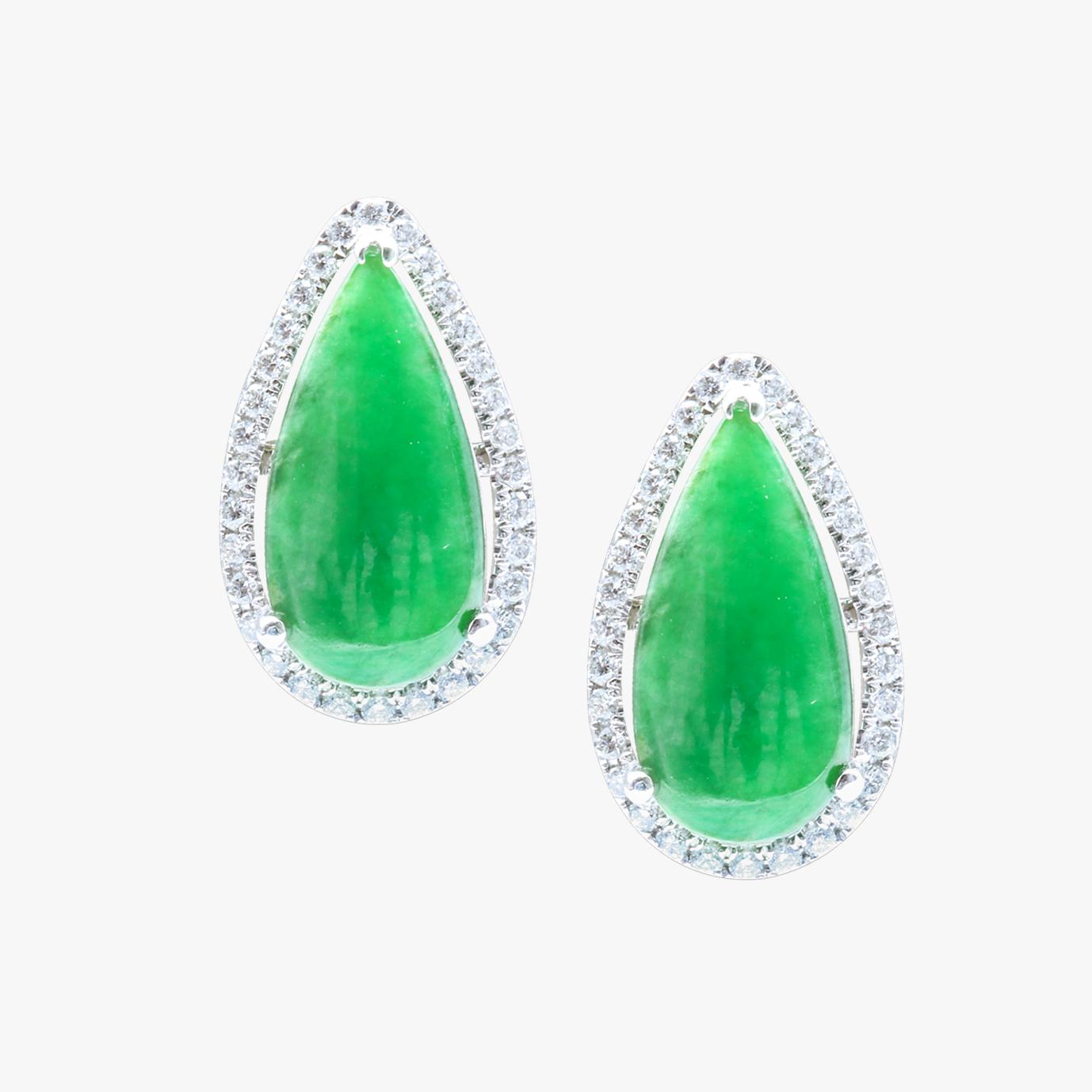 Bold Green Pear Shape Jadeite Jade Earrings