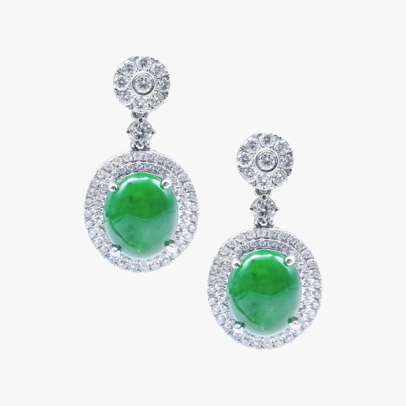 Red Carpet Event Imperial Green Double Halo Jadeite Jade Earrings