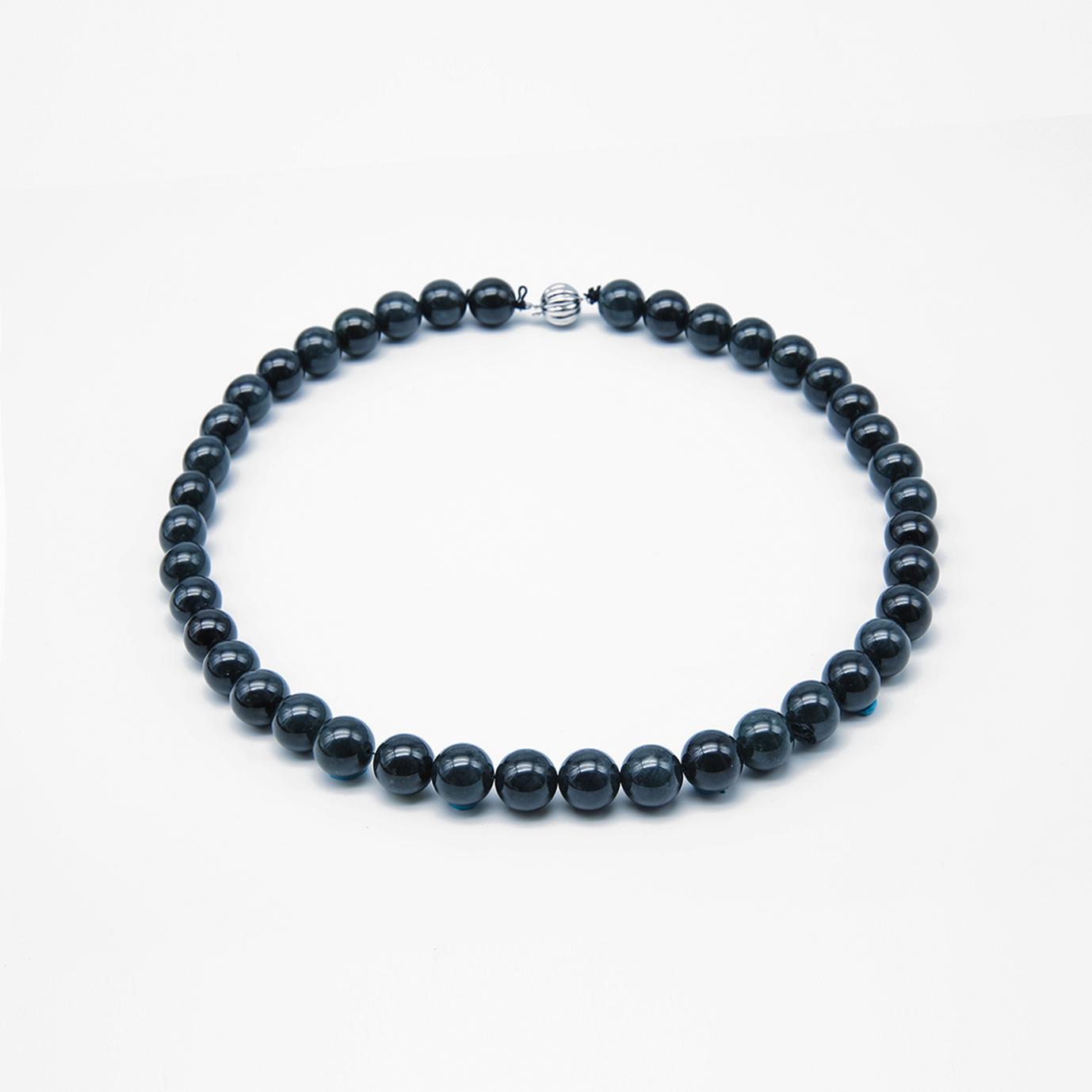 Black Jadeite Jade Pearl Necklace