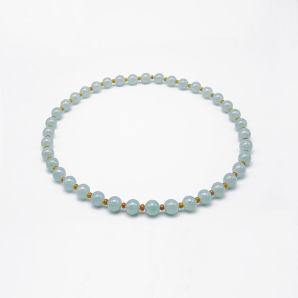 Clear Translucent with Yellow Jadeite Jade Pearl Necklace