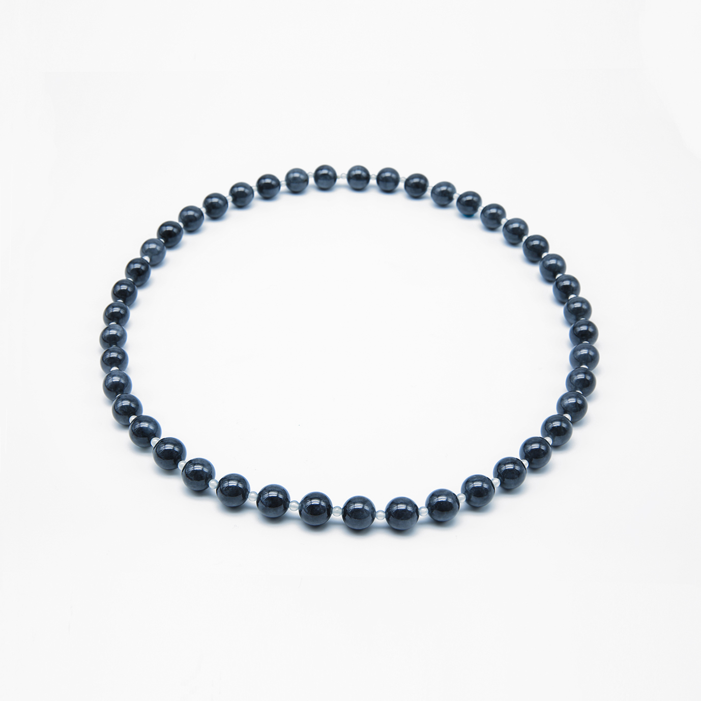 Icy Black with Clear Jadeite Jade Pearl Necklace