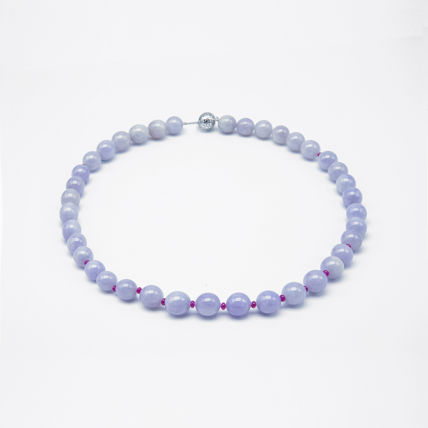 Icy Purple with Ruby Jadeite Jade Pearl Necklace