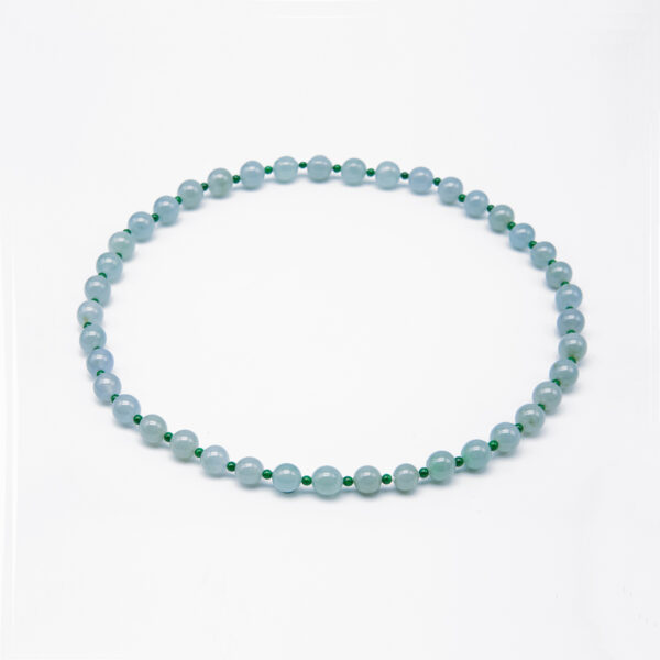 Icy Clear with Green Jadeite Jade Pearl Necklace