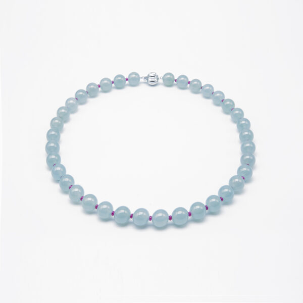 Icy Clear with Ruby Jadeite Jade Pearl Necklace
