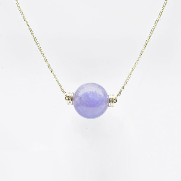 Icy Purple Bead Jadeite Jade Necklace
