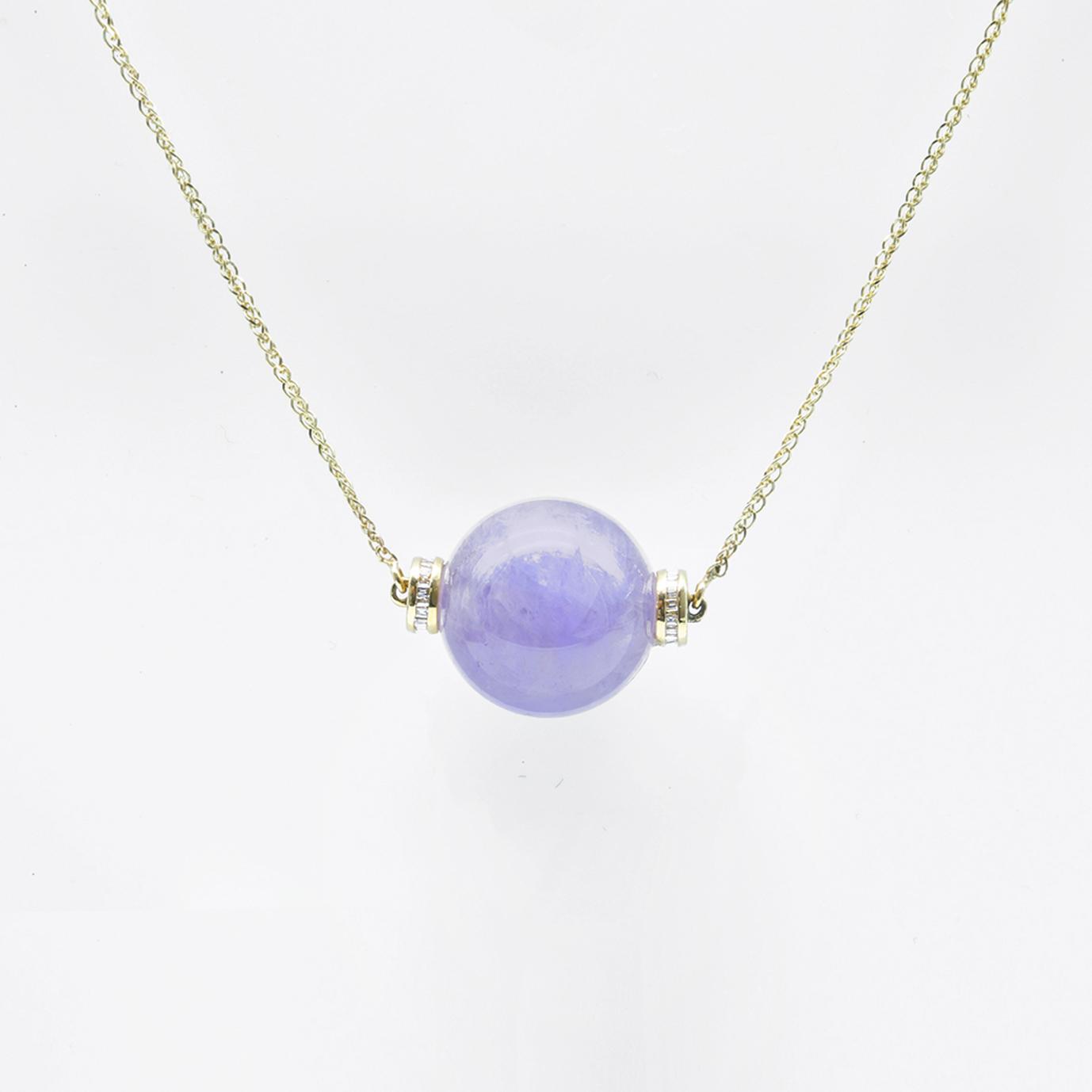 Icy Purple Bead Jadeite Jade Necklace