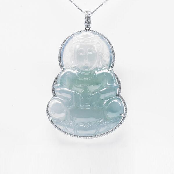 Highly Translucent Quan Yin Jadeite Jade Pendant
