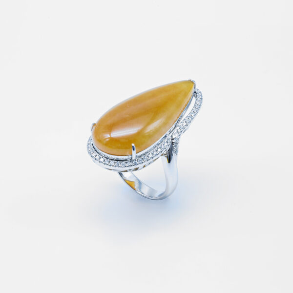 Tear Drop Icy Yellow Jadeite Jade Ring