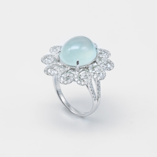 Peacock Icy Cabachon Jadeite Jade Ring