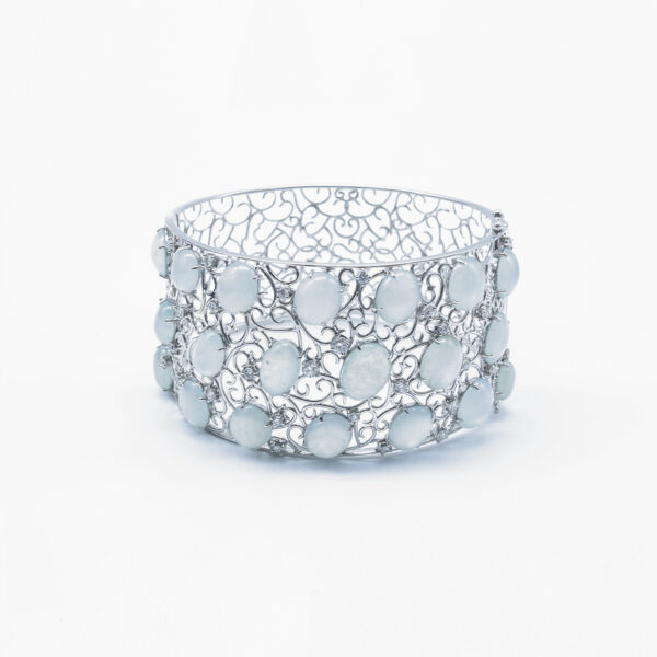 Fancy Cocktail Diamond and Jadeite Jade Bangle