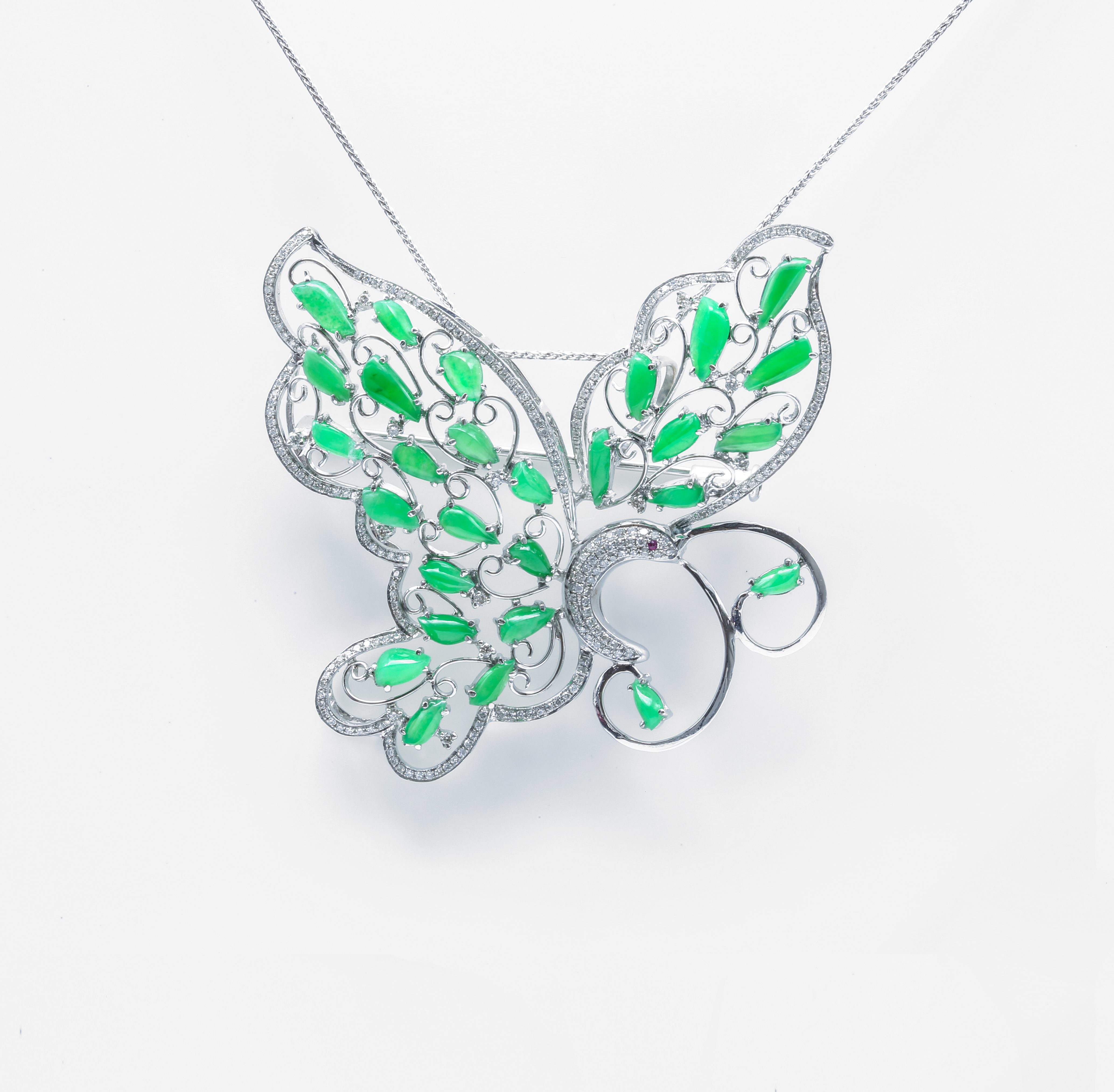 Butterfly Jadeite Jade Brooch and Pendand
