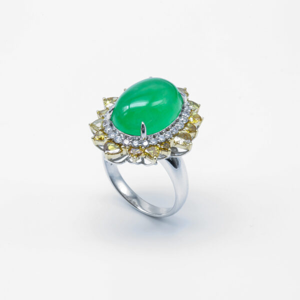 Red Carpet Event Icy Green and Jadeite Jade with Diamonds Ring