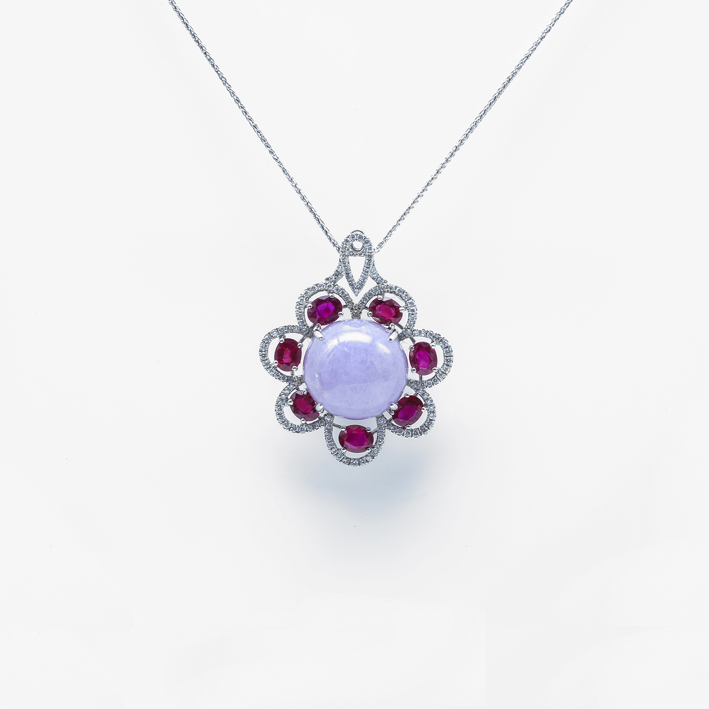 Icy Purple Rose Cabachon Jadeite Jade Pendant