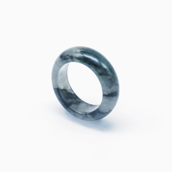 Icy Black Jadeite Jade Ring