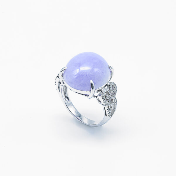 Purple Cabachon with Diamonds Jadeite Jade Ring