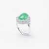 Translucent Green Cabachon with Double Halo Jadeite Jade Ring