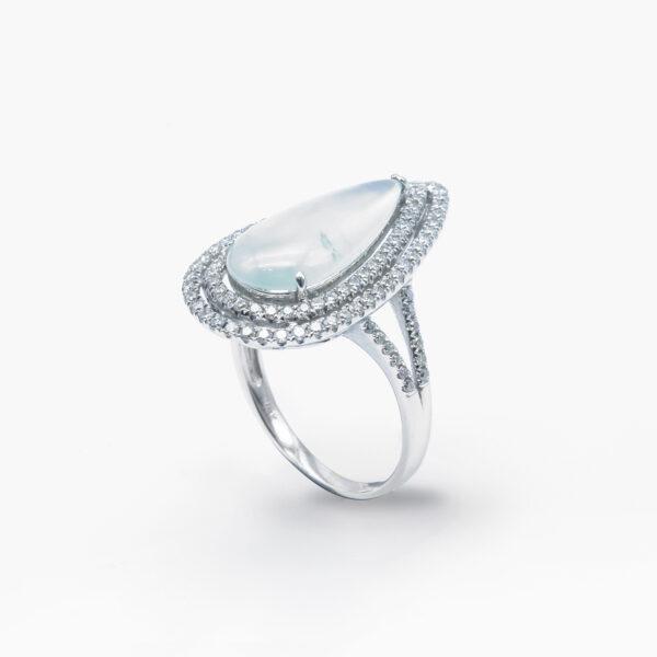 Tear Drop Transparent Jadeite Jade Ring