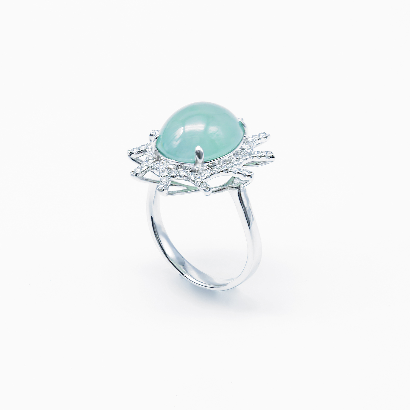Icy Jadeite Jade Moonphase Ring
