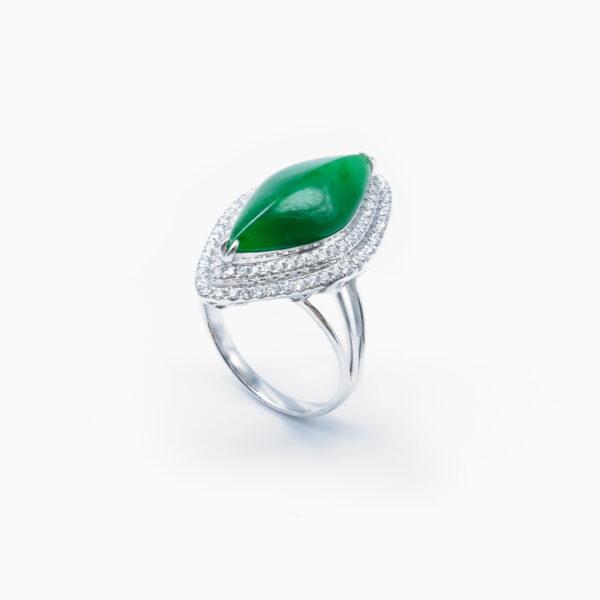 Translucent Green Knife Edge Jadeite Jade Ring