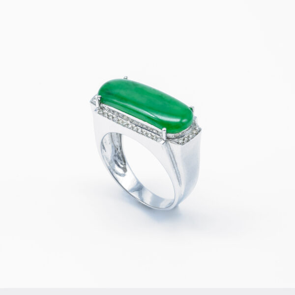 Men's Frosted Jadeite Jade Ring